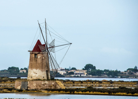 Windmill at the old salt factory, Trapani, Sicily