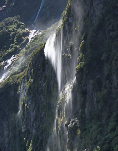 Waterfall in Milford Sound, South Island