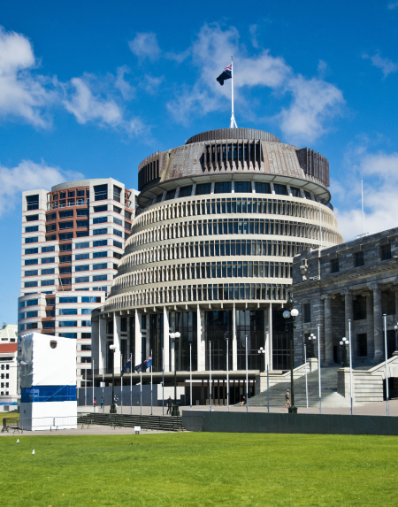 "New Zealand's ""Beehive"" Parliament Building"